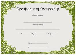 Certificate Of Ownership Template 9 Best 10 Templates