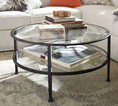 new tanner round coffee table matte iron bronze finish pottery barn