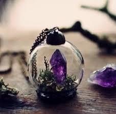 jewels crystal purple necklace raw amethyst ring raw amethyst pendant minuature terrarium fashion style beautiful glass