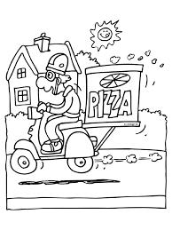 Kleurplaat Pizzabezorger Brommer Scooter Kleurplatennl