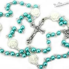 munion rosary confirmation gift boys rosary turquoise rosaries christening gift pearl