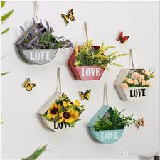 2018 metal garden pot originality wall decorate flowerpot metope succulent plants manual diy iron art hanging small flower basket decor 13 5wy xy from sd002