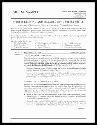Resume Fitness Trainer Resume