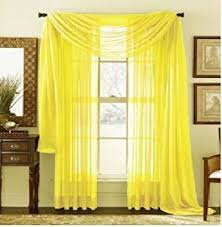 "MONAGIFTS BRIGHT YELLOW Scarf Voile Window Panel Solid sheer valance  curtains 216"" ..."