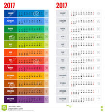 Yearly Wall Calendar Planner Template For 2017 Year. Vector Design ...