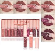 Waterproof Matte Lipstick Long Lasting Liquid Lipstick Velvet Mate Lip Gloss Balm Lip Kit Maquiagem Makeup Set Lipgross Langmanni Makeup Covergirl Lip