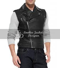 fashion mens leather biker vest with shoulder quilted leather front