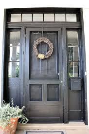 repaint front door black add old wood screen door painted to match