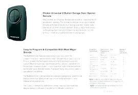 Chamberlain Klik1u Compatibility Chart Remotes For Garage Door Openers Ashleighjade Co