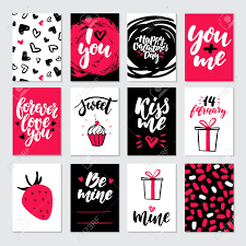 Valentines Day Gift Card Vector Set Hand Drawn Printable Templates