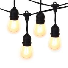 bistro string light suspended black 10 sockets 21ft commercial outdoor grade