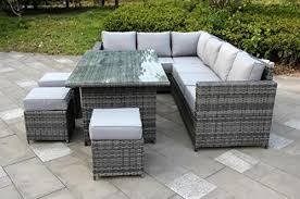grey rattan garden dining sets. yakoe 50108 conservatory classical range 9 seater rattan garden furniture corner dining set \u2013 grey sets e