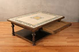 Extra Large Square 1 Drawer Tile Top Coffee Table U2013 ONLINE ONLY | Furnish  Green