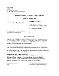 Sample Civil Complaint Form Delectable How To Appeal A Summary Judgment With Sample Notice Of Appeal