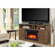 freestanding electric fireplace tv stand in rustic brown