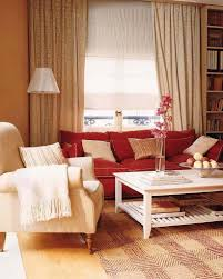 warm paint color for cozy living room ideas with red sofa