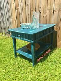 farrar furniture. Rustic Midcentury Side Table Furniture Makeover. Console With Distressed Blue Paint Layered Farrar