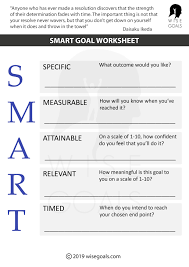 Smart Goals Template Top Quality Smart Goal Worksheet From Wisegoals