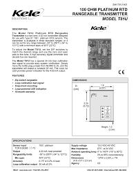100 Ohm Platinum Rtd Rangeable Transmitter Model T81u