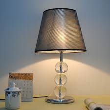 small touch bedside table lamps with crystal stand and stainless