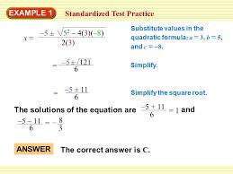 standardized test practice 5 solve a quadratic equation