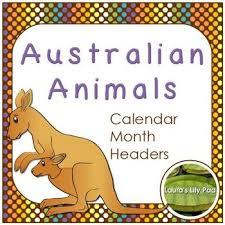 Australian Animals Calendar Months Headers Australian