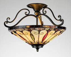 felice tiffany traditional semi flush mount ceiling light by quoizel lighting