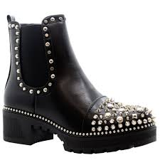 Studded Boots Designer Details About Ladies Studded Chelsea Ankle Boots Womens Chunky Platform Heels Goth Punk Shoes
