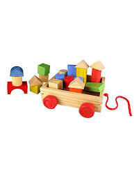 wooden pull along blocks wagon
