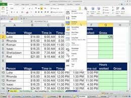 Timesheet Formulas In Excel Office 2010 Class 31 Excel Time Number Format Payroll Time Sheet