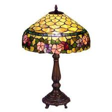 bronze table lamp with stained glass