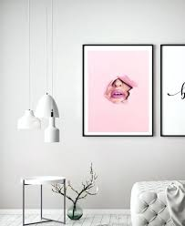 silver glitter lips wall art contemporary pink print home decor abstract house living room interiors framed white and gold lips wall art