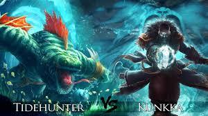 dota 2 kunkka vs tidehunter one click battle youtube