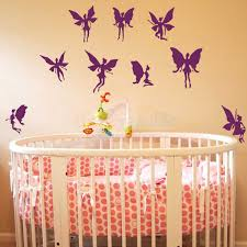 set of nine fairies wall decal purple