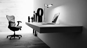 black and white office. grey concrete wall futuristic office furniture with black seat on the modern floor can add and white