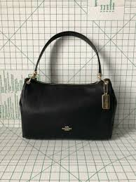 coach mia shoulder bag black leather purse handbag f28966