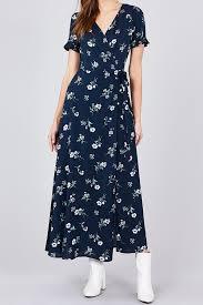 Restocked Faviana Wrap Maxi Dress In Navy