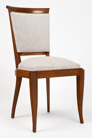 french polished art deco walnut dining chairs  jean marc fray