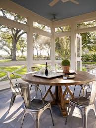 san francisco sun porch with transitional dining room tables farmhouse and outdoor living round table