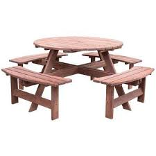 8 person brown round wooden outdoor patio