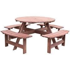 8 person brown round wooden outdoor patio deck garden picnic table