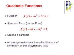 quadratics parts of a parabola and