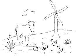 Nederland Kleurplaten Weide Met Paard En Windmolen