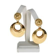 Monet Gold Tone Door Knocker Earrings Massive Big Long Dangling S ...