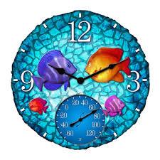 tropical mosaic fish clock thermometer com