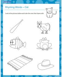 Small Picture Rhyming Words Cat Free Kindergarten Reading Worksheet JumpStart