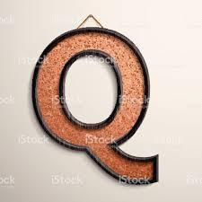 3d wooden frame cork board letter Q royalty-free stock vector art