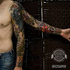 рукав в японском стиле у мужчины фото татуировок