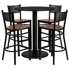 36 round black laminate table set with 4 grid back metal barstools cherry wood seat