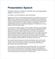 Sample Presentation Speech Example Template 7 Free Documents